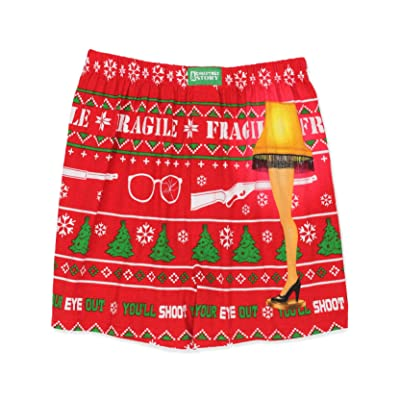 A Christmas Story Leg Lamp Men's Briefly Stated Holiday Boxer Shorts Underwear (Small, Red) at Amazon Men's Clothing store