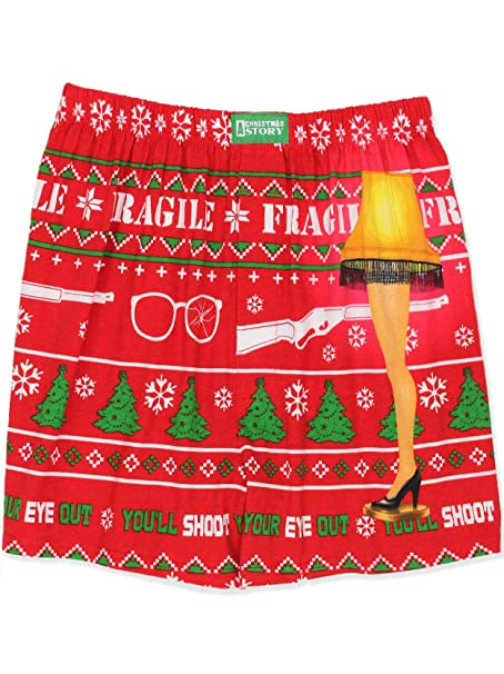5532d400a5 Briefly Stated A Christmas Story Leg Lamp Men's Holiday Boxer Shorts  Underwear (Small, ...