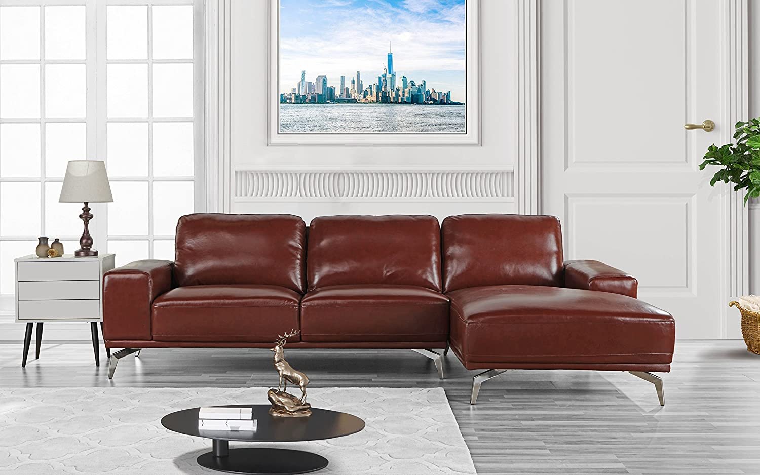 Amazoncom Modern Real Leather Sectional Sofa L Shape Couch W