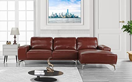 Divano Roma Furniture   Modern Real Leather Sectional Sofa, L Shape Couch W/