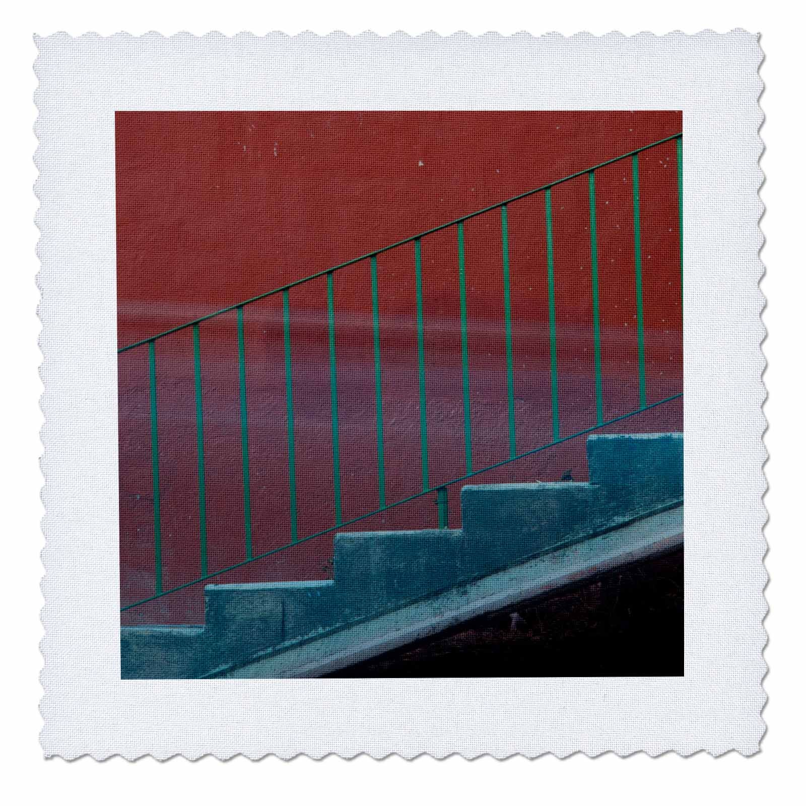 3dRose Danita Delimont - Architecture - Mexico, Guanajuato. Stairs and railing against a red wall. - 18x18 inch quilt square (qs_258501_7)