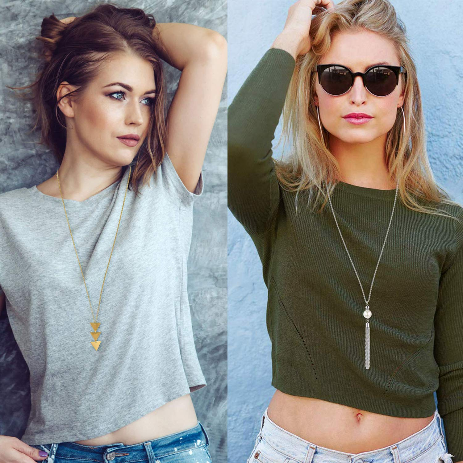 Sunmoon 6 PCS Long Pendant Necklaces for Women Girls Y Necklace Layered Simple Bar Triangle Tassel Charm Statement Necklace Set Strands