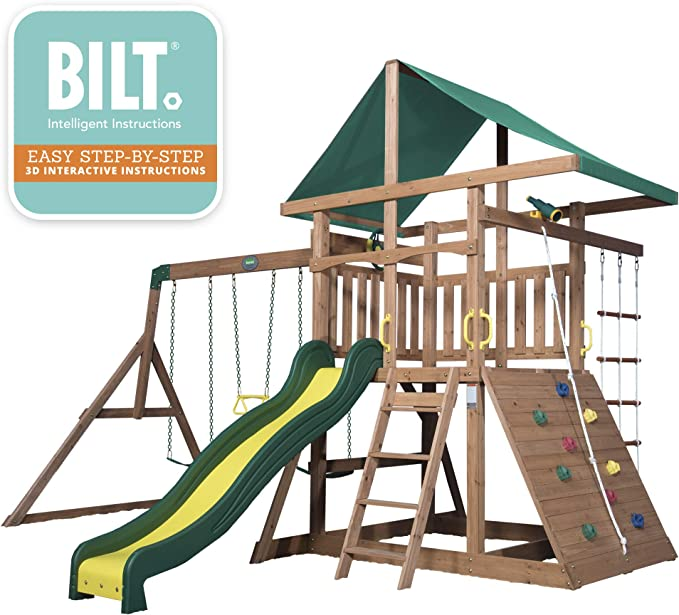 Amazon Com Backyard Discovery Mount Mckinley All Cedar Wood Swing Set Toys Games