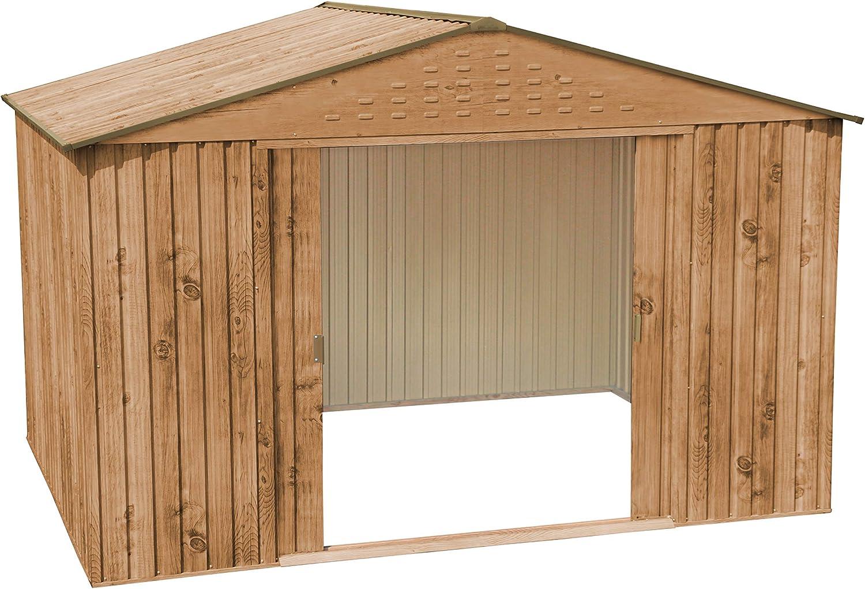 Caseta metálica imitación madera Hercules: Amazon.es: Jardín