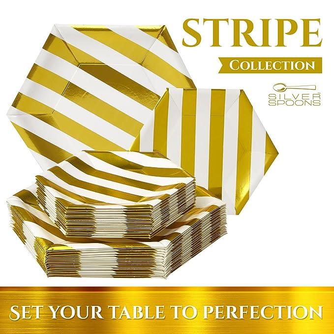 VAJILLA PARA FIESTAS DESECHABLE DE 36 PIEZAS | 18 platos grandes | 18 platos auxiliares | Platos de cartón resistente | Diseño hexagonal | Para bodas y ...