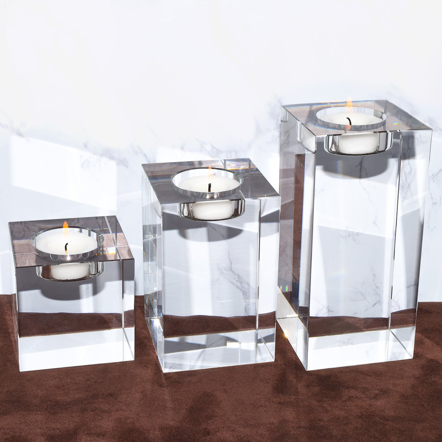 Amazing Home Huge and Heavy Crystal Candle Holders Set of 3, 2.7'' Width Prepackaged Elegant Heavy Solid Square Tealight Holders Set Centerpieces for Wedding, Home Decor, Ceremony and Anniversary