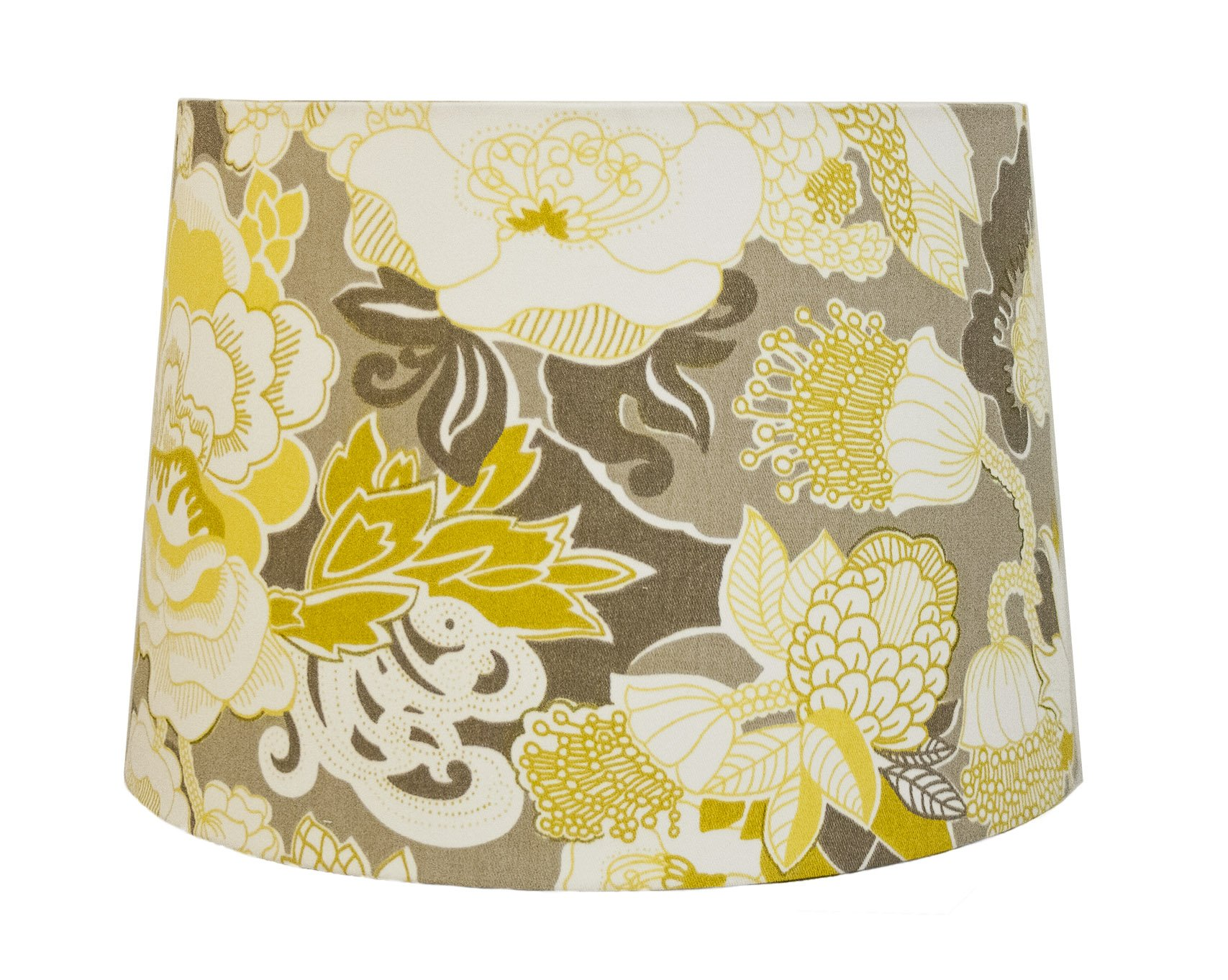 Unique Retro Drum Lamp Shade, Best for 8'' Harp, Floral Print in Yellow, Grey, White, 12x14x9.5'' by Heem & Co
