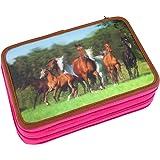 Horses Dreams 8726Astuccio rigido a 3scomparti, multicolore, motivo cavalli