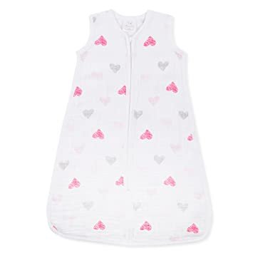 Amazon.com: aden + anais Classic Sleeping Bag, 100% Cotton Muslin, Wearable Baby Blanket, Lovebird - Sketch Hearts, Medium, 6-12 Months: Baby