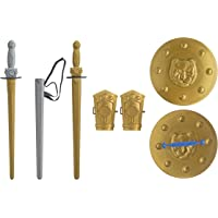 Ratna's Mighty Sword Set for Kids (1 Premium Quality Sword, 1 Sword Cover, Waist Belt, 2 Arm Guards and 1 Guard, Multi Color