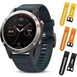 Garmin Fenix 5 Silver with Granite Blue band 010-01688-01 and Three Additional Wearable4U Quick Release Silicone Watch Bands Bundle (Yellow/Orange/Black)