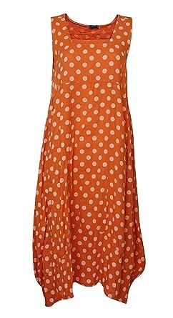 684ca0a41c3 New Ladies Italian Lagenlook 100% Linen Boat Neck Summer Holiday Baloon  Poka Dot Sleeveless Dresses