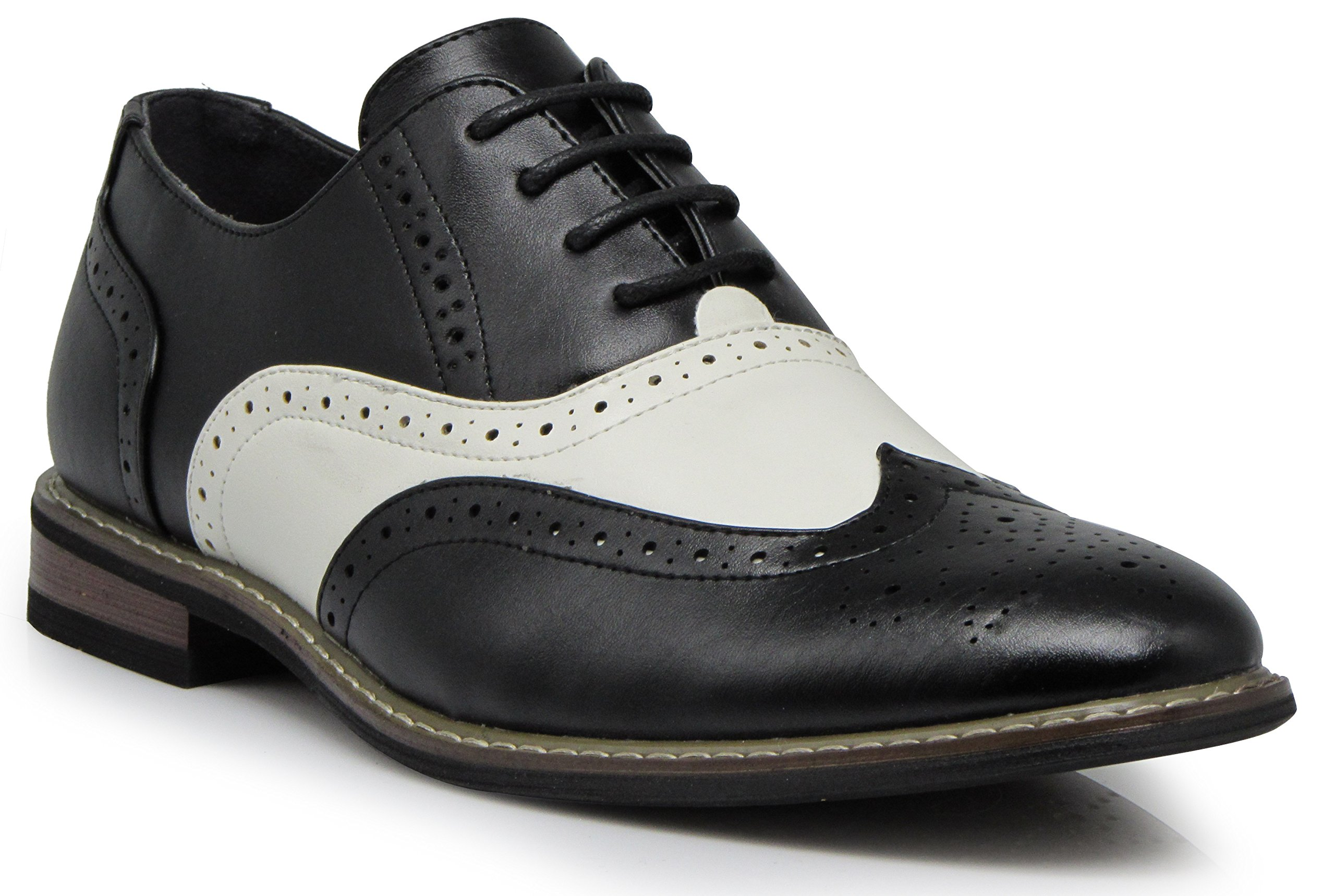 Wood8 Men's Two Tone Wingtips Oxfords Perforated Lace up Dress Shoes (15 D(M) US)