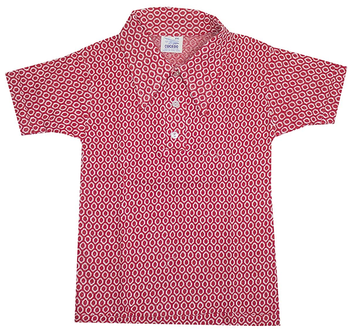 Boys Vintage Geometric Knit Pointy Collar Polo Shirt T-Shirt Top Sizes from 5 to 12 Years