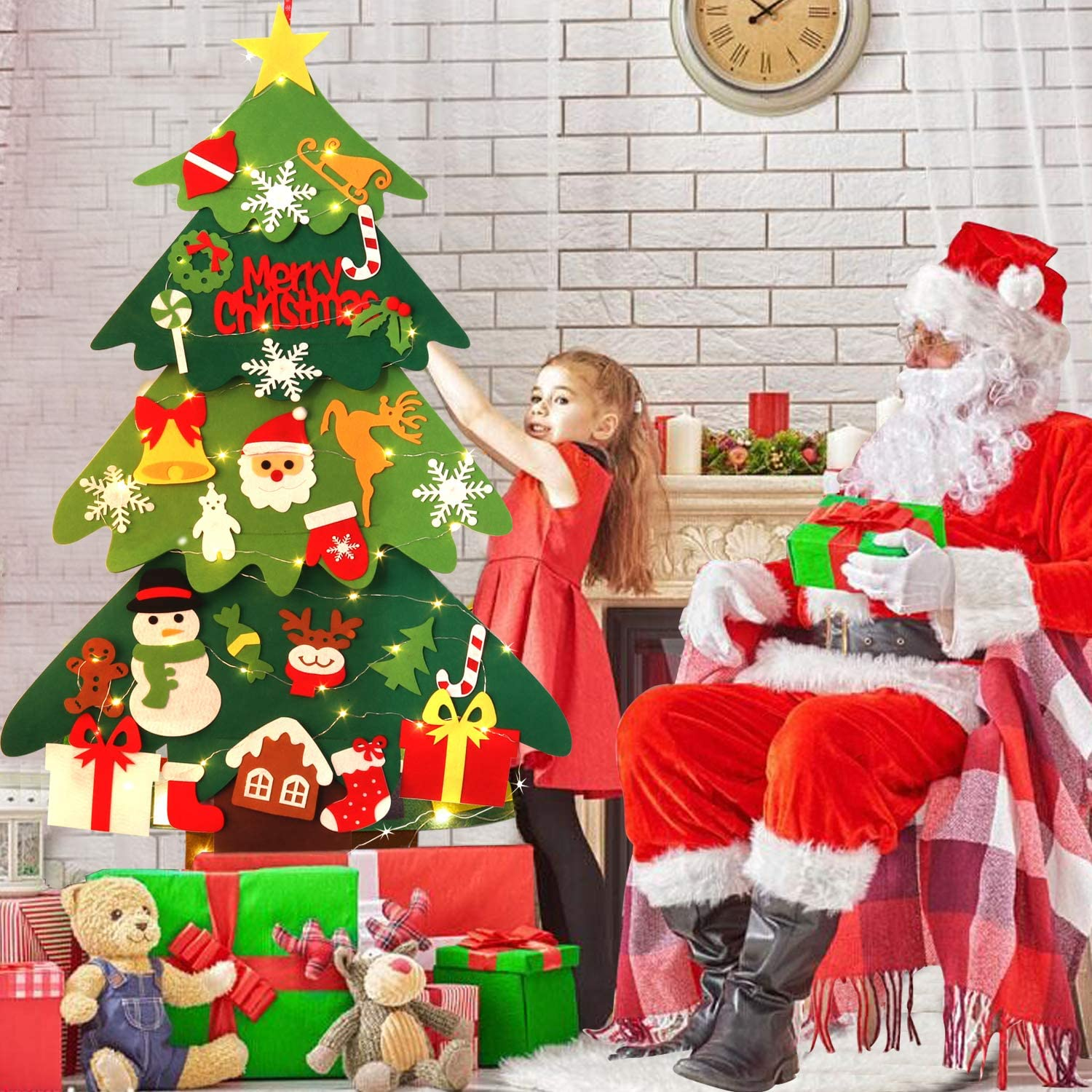 Bageek Felt Christmas Tree DIY Christmas Tree with 30 Pcs Ornaments Christmas Wall Decor with Hanging Rope for Kids Xmas Gifts Home Door Wall Decoration