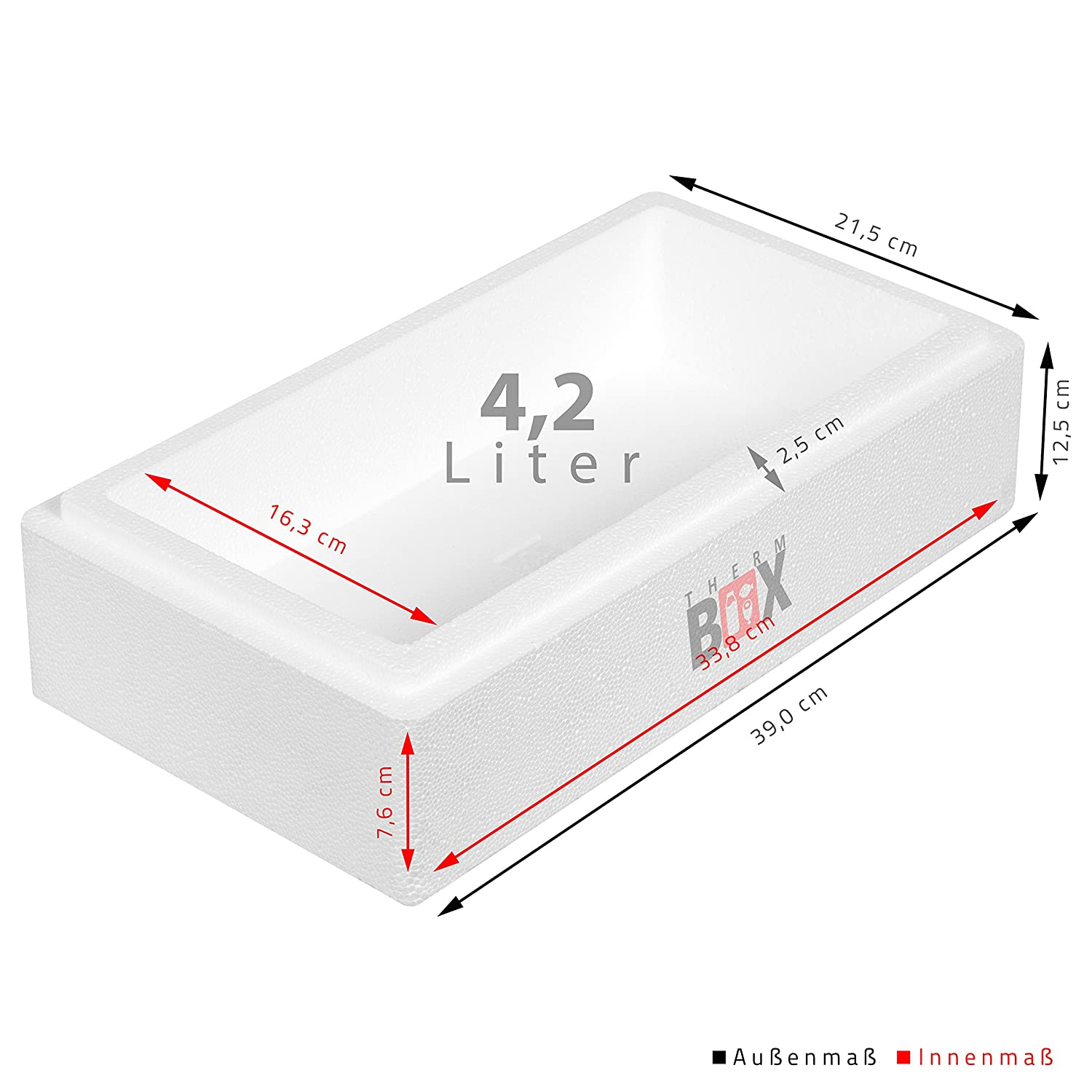 Innen: 70x29x39cm Wand:2,5cm Isolierbox Thermobox K/ühlbox Warmhaltebox Volumen: 83L THERM BOX Styroporbox 83W