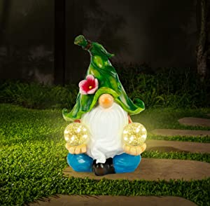 WOGOON Gnomes Garden Art Outdoor Decorations, Large Meditating Gnome Statue with Double Solar Power Light Orbs Design, Outside Decor Figurines Funny Lawn Sculpture for Patio Yard Porch,Ornament Gift