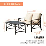 LOKATSE HOME 2 Pieces Patio Loveseat Metal Frame