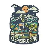 Keep Exploring - Distressed Vector - Mountain Scene 100824 (Vinyl Die-Cut Sticker, Indoor/Outdoor, Large)