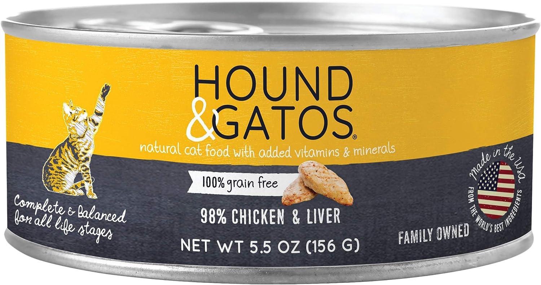 Hound & Gatos Wet Cat Food, 98% Chicken & Liver, case of 24, 5.5 oz cans
