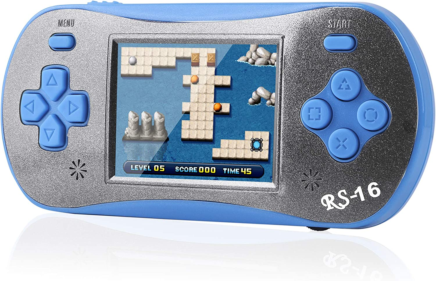 ZFKJ Handheld Games 2.5-inch Color Screen pre-Installed 260 Classic Retro Video Games No WiFi Children's Adult Electronic Game Consoles Birthday (Green) (Blue)