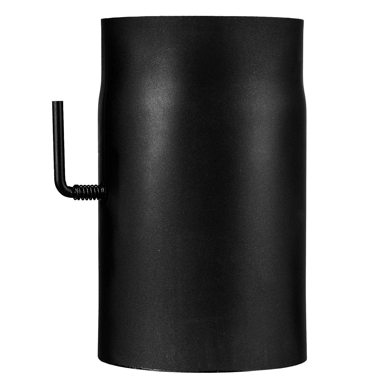 Rauchrohr schwarz, 250 mm lang, 150 mm Durchmesser, mit Drosselklappe, CE zertifiziert Chimney