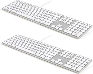 Matias FK318S USB Wired Aluminum Keyboard with Numeric Keypad and Built-in 2-Port Hi-Speed USB 2.0 Hub (2-Pack) - Compatible with Mac - Silver