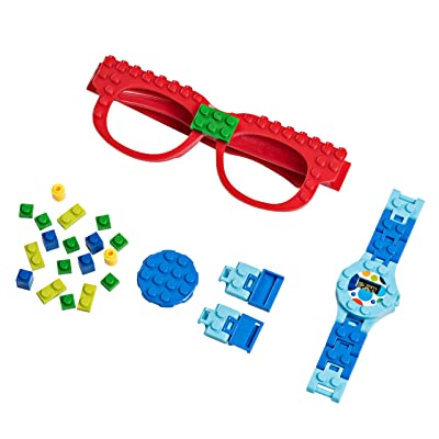 PlayBuild Building Bricks Digital Watch and Eye Glasses Set, Cool Toys for Boys and Girls, Classic Block Wrist Watch and Eye Glasses for Kids of All Ages.: Toys & Games