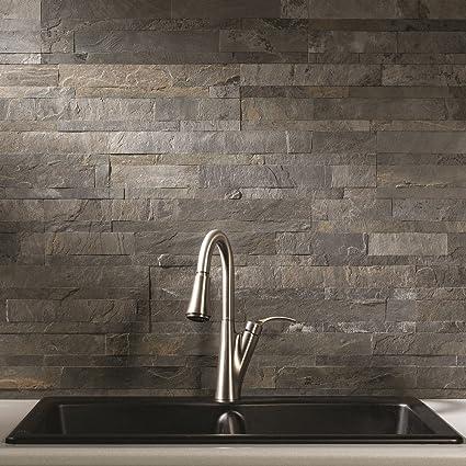 Aspect Peel And Stick Stone Overlay Kitchen Backsplash   Iron Slate  (5.9u0026quot; X 23.6u0026quot