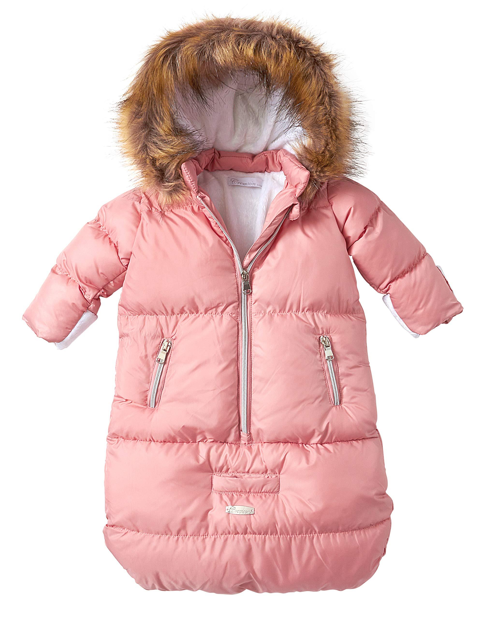 Cremson Girls Boys Newborn Infant Baby Puffer Carbag Pram Bag Snowsuit Bunting - Mauve Pink (Size 0/6M)