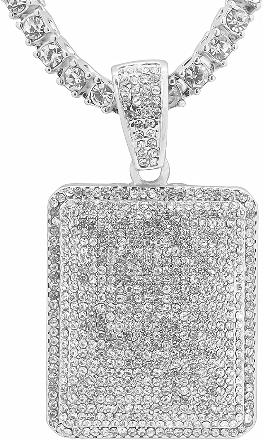 Men/'s Iced Out Hip Hop Gold Silver Square White Stone Pendant Necklace