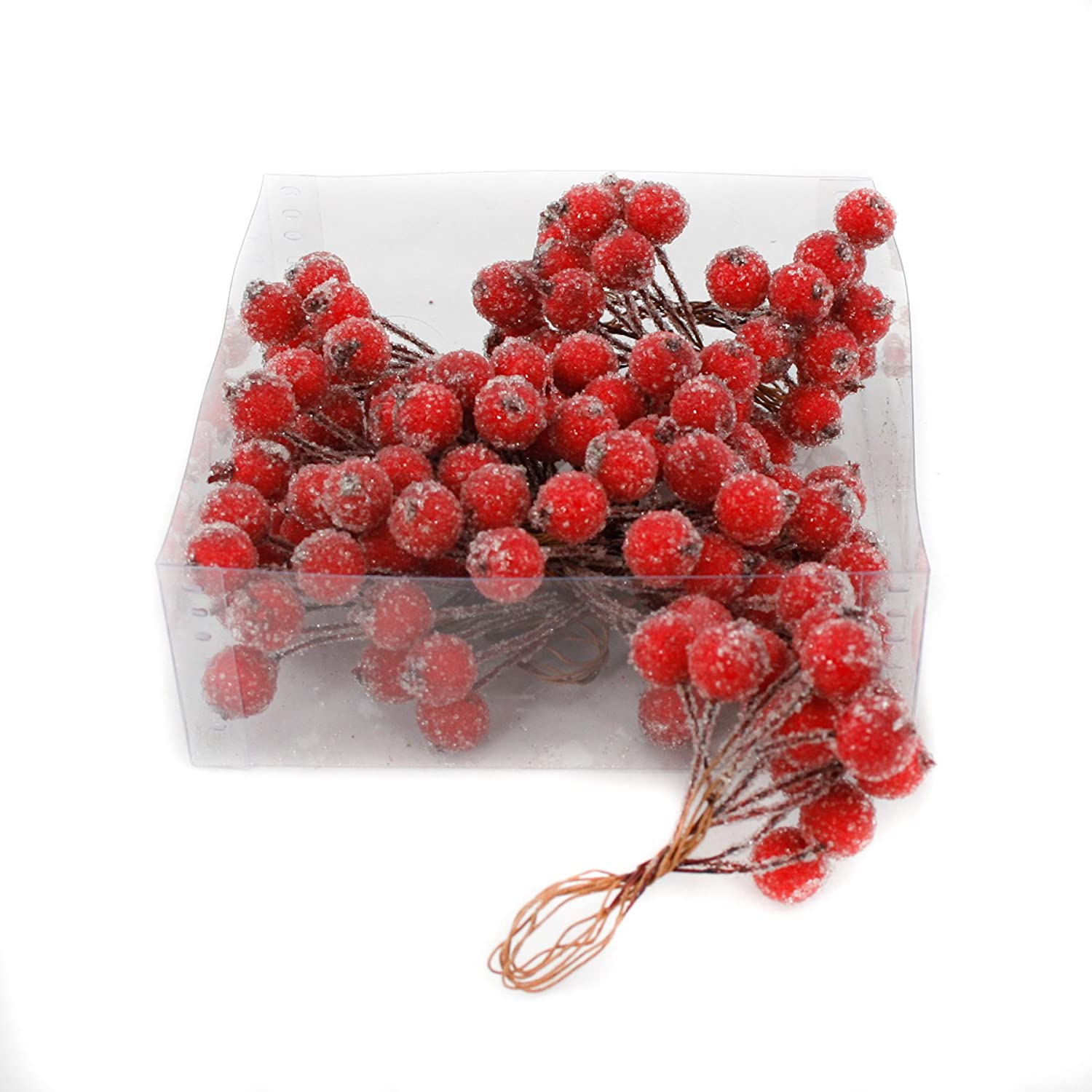 Artificial Burgundy Red Frosted Holly Berries 12mm (x 120) on wire for Christmas craft use
