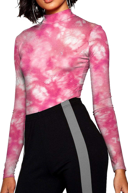 Dyorigin Women's Printed Long Sleeve Colorful Bodysuit Turtleneck/Round Collar Leotard Jumpsuits