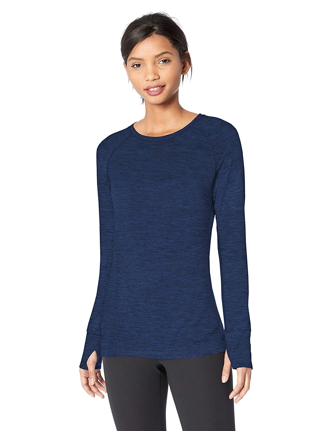 Essentials Womens Brushed Tech Stretch Long-Sleeve Crew