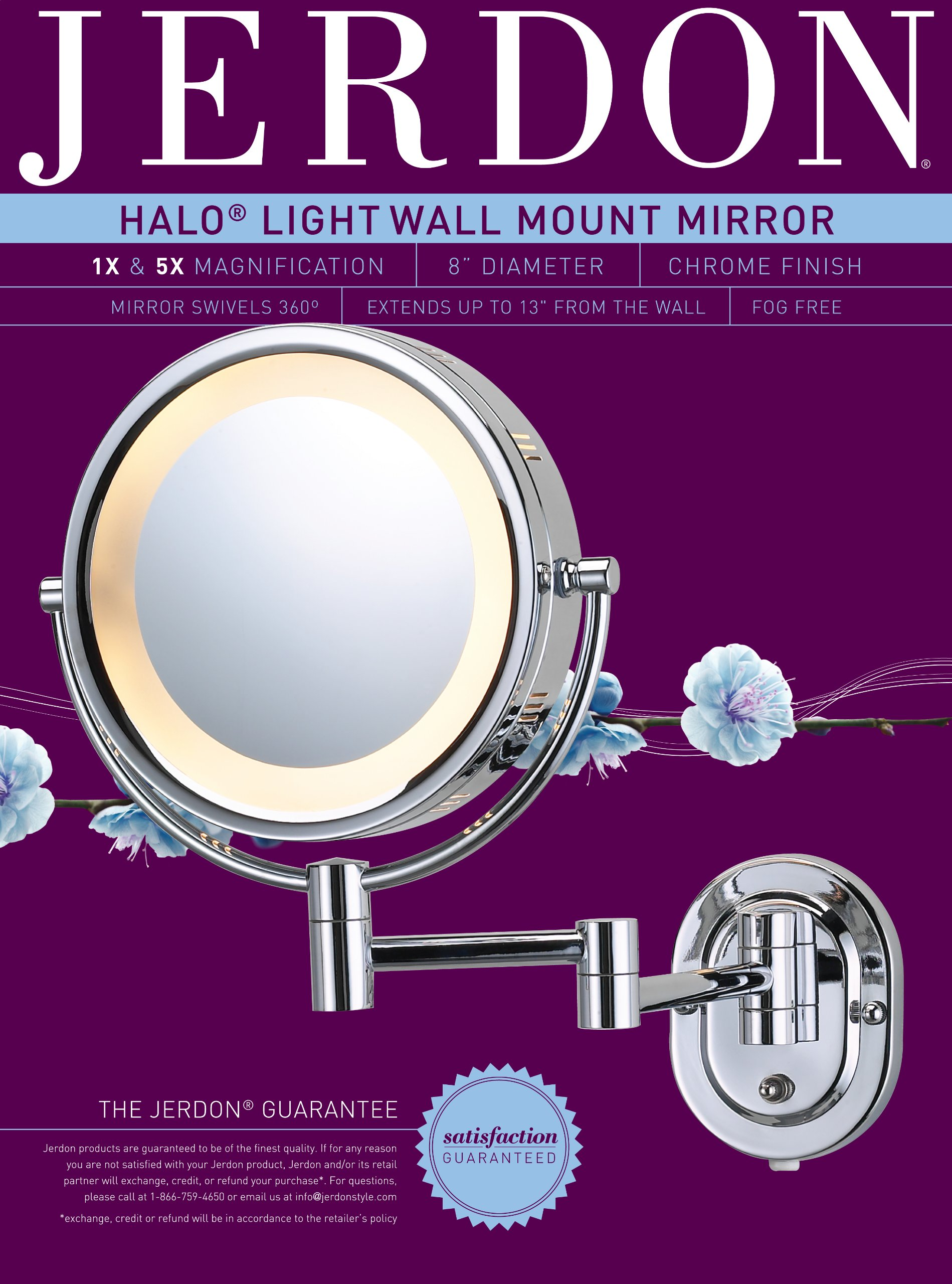 Jerdon HL65C 8-Inch Lighted Wall Mount Makeup Mirror with 5x Magnification, Chrome Finish by Jerdon (Image #1)