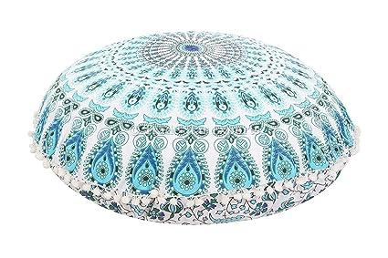 Indian Mandala Seating Ottoman Pouf Cover Hiipie Boho Large Pouf Footstool Case Home & Garden
