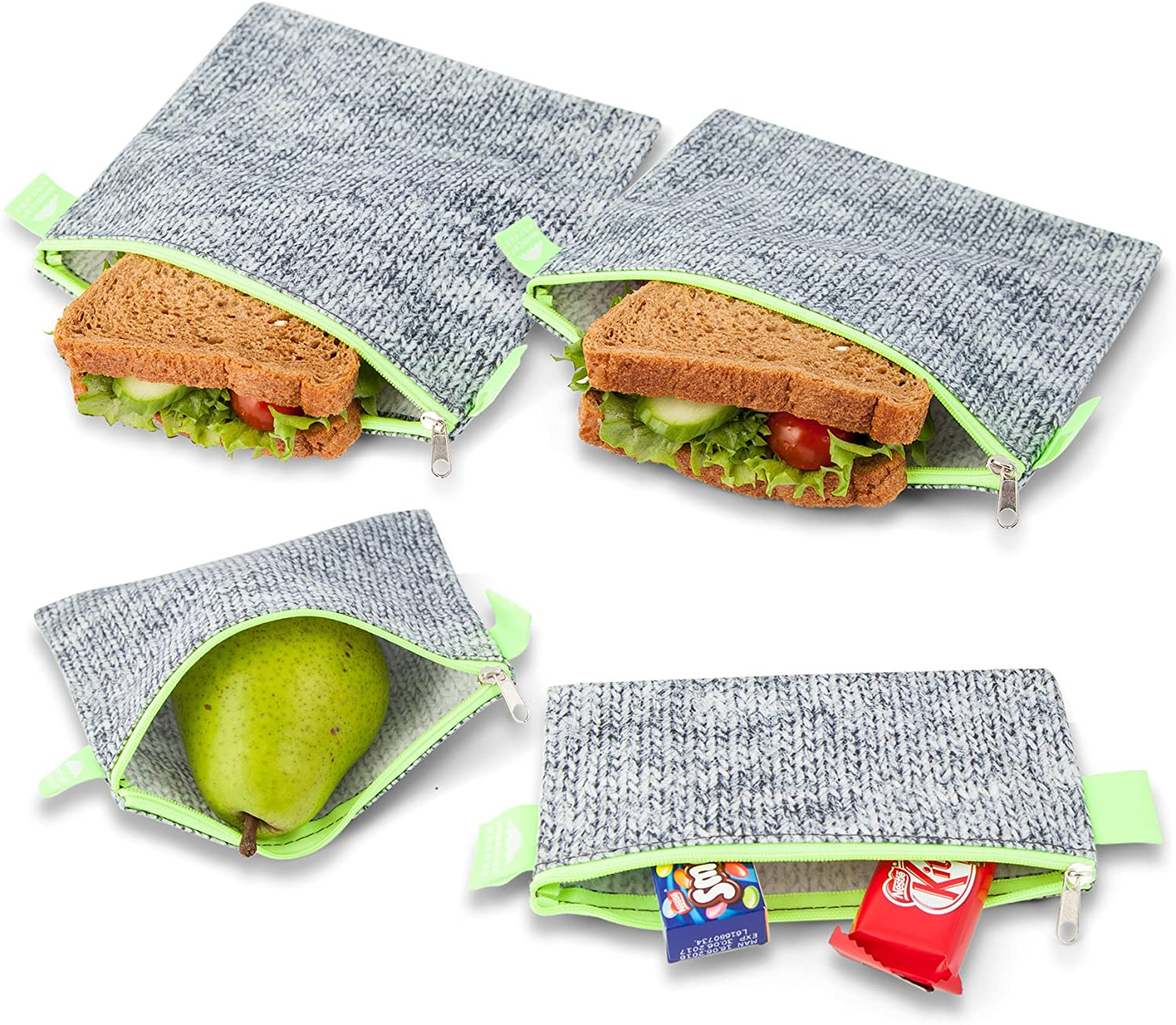 Nordic By Nature 4 Pack - Reusable Sandwich Bags Dishwasher Safe BPA Free - Durable Washable Quick Dry Cloth Baggies -Reusable Snack Bags for Kids School Lunches - Easy Open Zipper (Grey/Neon Green)