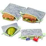 Nordic By Nature Premium Grey & Neon Green Sandwich & Snack bags | Designer Set of 4 Pack | Resealable, Reusable and Eco Friendly Dishwasher Safe Lunch Bags | Functional Easy Open Zipper | Great Value