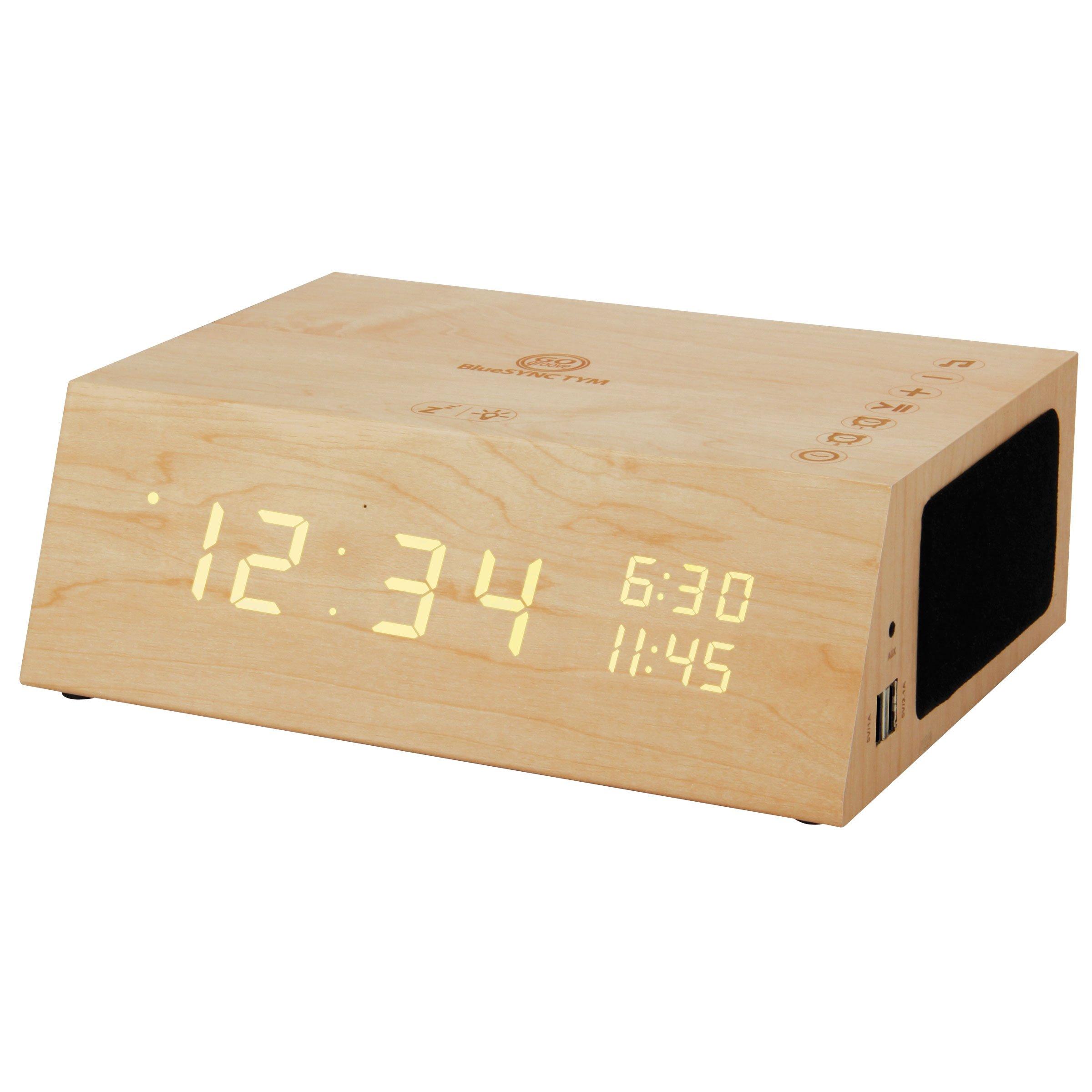 GOgroove Alarm Clock Radio Bluetooth Speaker TYM+ [2018 Edition] Wood Digital Alarm Clock LED with FM Radio, Battery Backup, USB Phone Charging Ports, 3.5mm AUX, Built-in Mic (Light Finish)