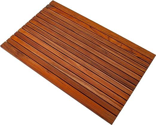 Oiled Non-Slip Teak Shower//Bath//Outdoor Mat 31.4″ x 19.6″ wide end slat