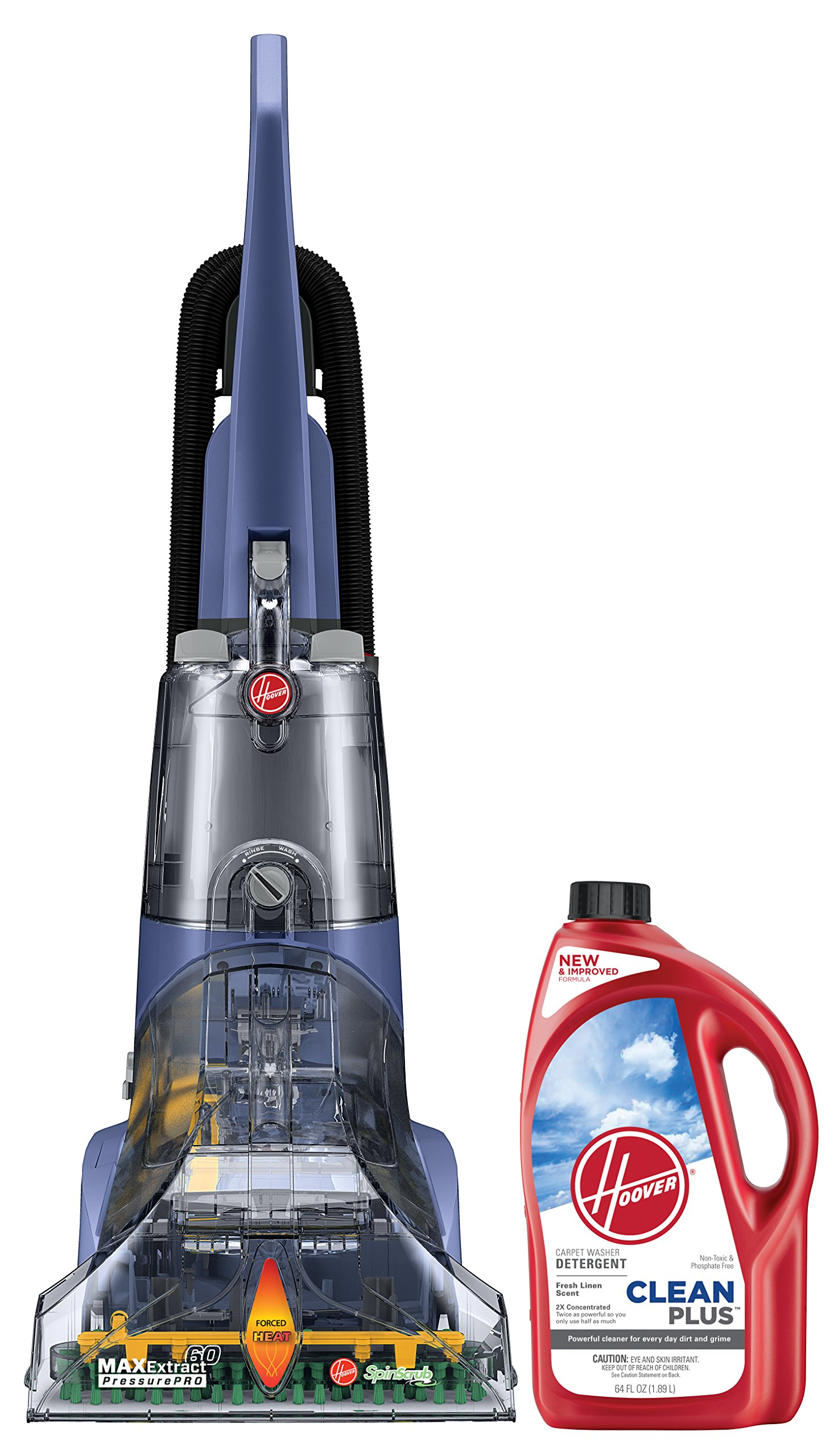 Hoover Max Extract 60 Pressure Pro Carpet Deep Cleaner, FH50220 and Hoover CLEANPLUS 2X 64oz Carpet Cleaner and Deodorizer, AH30330 Bundle