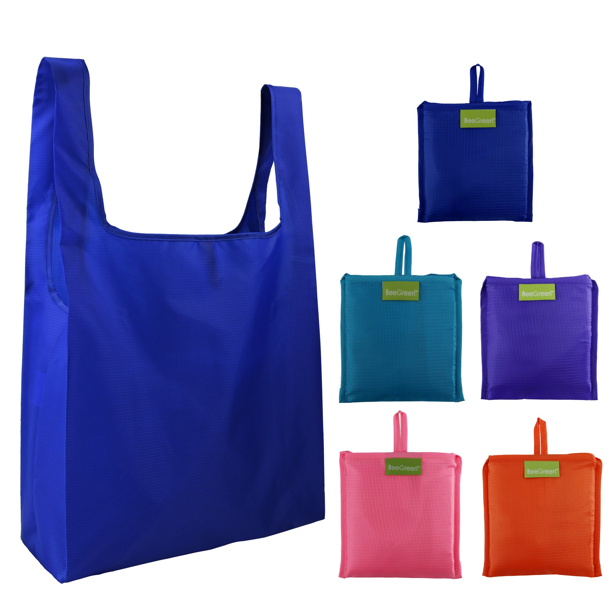 Reusable Grocery Bags Set of 5, Grocery Tote Foldable into Attached Pouch, Ripstop Polyester Reusable Shopping Bags, Washable, Durable and Lightweight (Royal,Purple,Pink,Orange,Teal) by BeeGreen