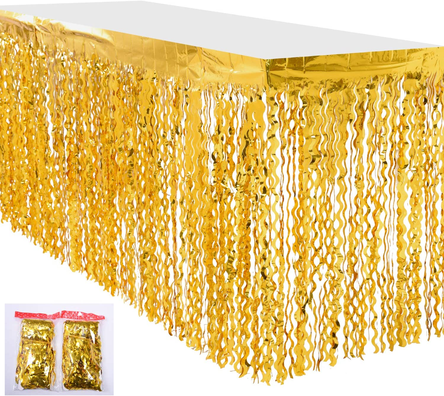 Amazon Com Leegleri Plastic Metallic Foil Fringe Table Skirt Tinsel Curly Willow Party Table Skirt Banner For Mardi Gras Party Wavy Golden 2 Pack Kitchen Dining