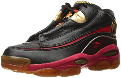 Reebok Men's The Answer DMX 10 Fashion Sneaker,Black/Red/Gold,10.5