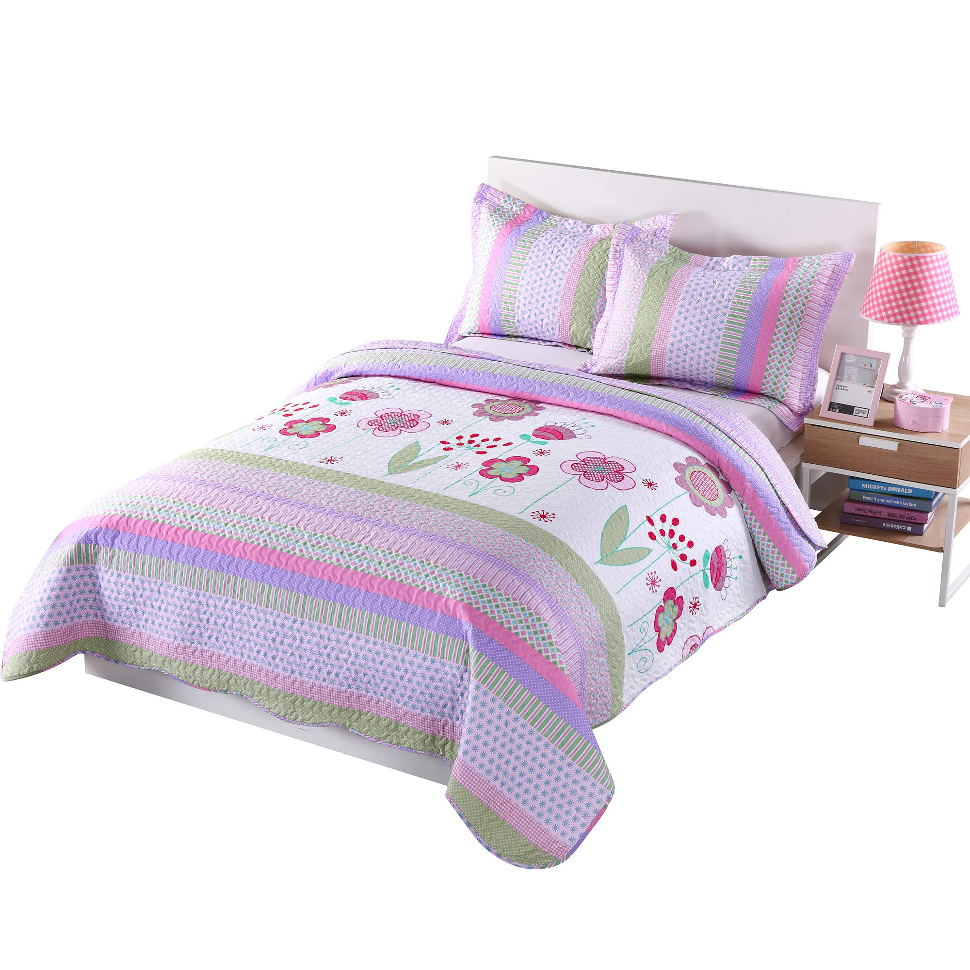 MarCielo 3 Piece Kids Bedspread Quilts Set Throw Blanket for Teens Girls Bed Printed Bedding Coverlet, Full Size, Purple Floral Striped (Full) by MarCielo