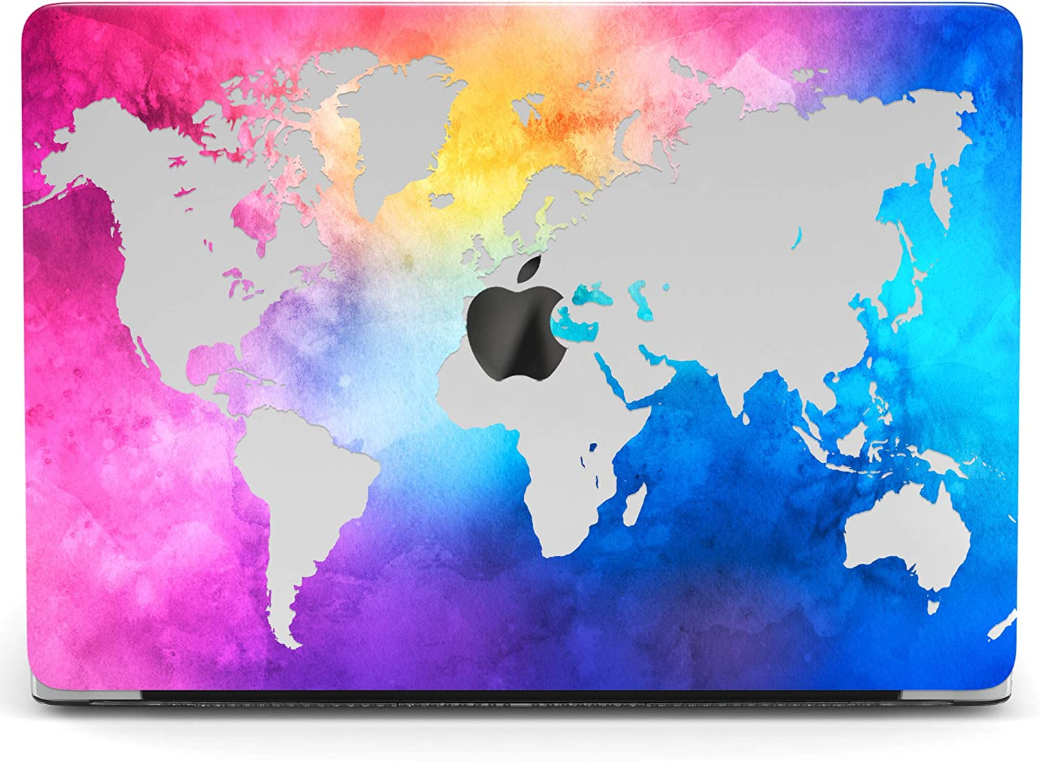 Wonder Wild Mac Retina Cover Case Compatible with MacBook Pro 15 inch 12 11 Clear Hard Air 13 Apple 2019 Protective Laptop 2018 2017 2020 Plastic Print World Map Watercolor Continents Female Purple