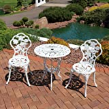 Sunnydaze 3-Piece Flower Designed Bistro Table Set