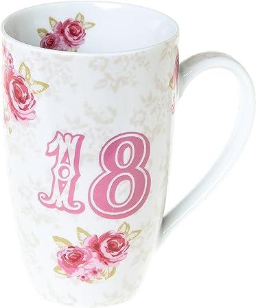 Me To You - Taza Alta de Desayuno (15,2 x 14 cm, en Caja de Regalo), diseño Floral con número 18, Color Rosa y Blanco: Amazon.es: Hogar