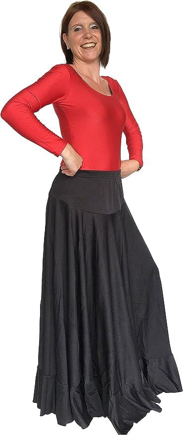 La Senorita español Flamenco falda – damas/mujer – negro: Amazon ...