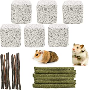 kathson Hamster Chew Toys Pet Bunny Teeth Grinding Lava Block Natural Apple Wood Timothy Grass Sticks Guinea Pig Teeth Care Molar Toys Accessories for Rabbits Gerbils Rats Chinchillas 22PCS